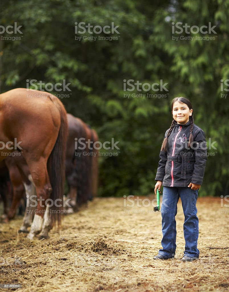 Portrait of girl with horses royalty free stockfoto