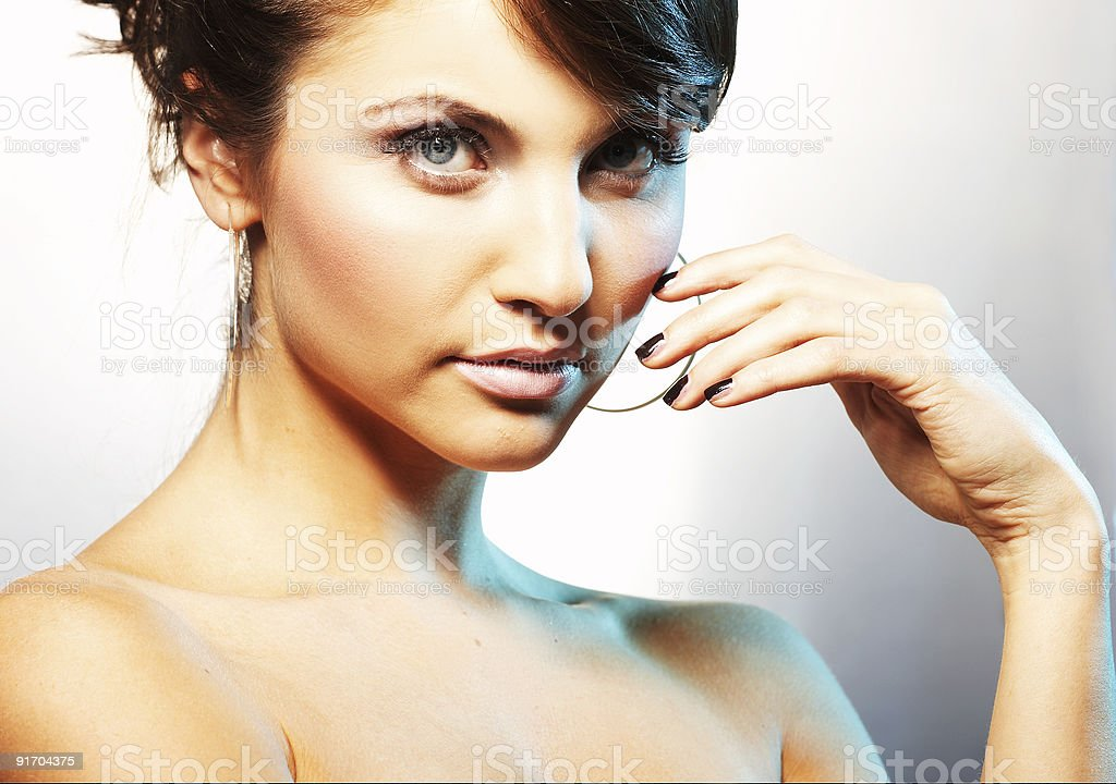 portrait of girl with light lipstic royalty-free stock photo