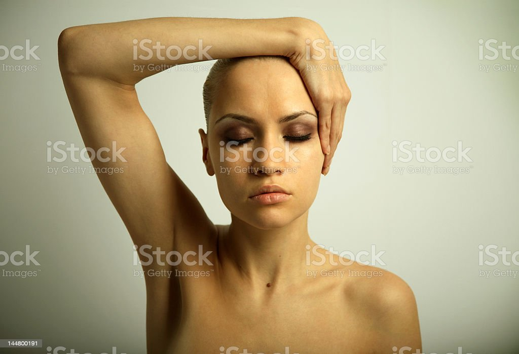 portrait of girl with make-up stock photo