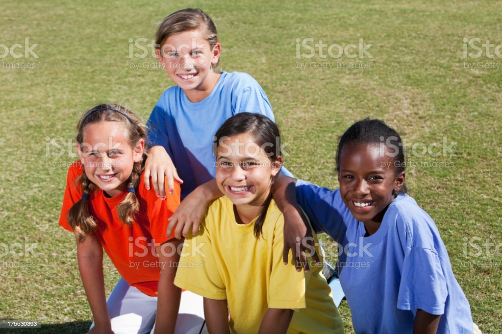 Portrait of girls outdoors stock photo