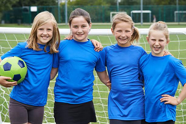 Portrait Of Girl's Soccer Team stock photo