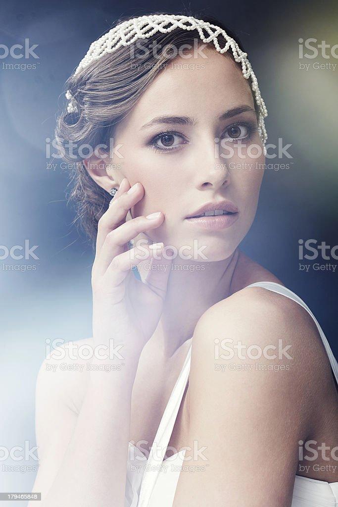 Portrait of glamorous young bride, studio shot royalty-free stock photo