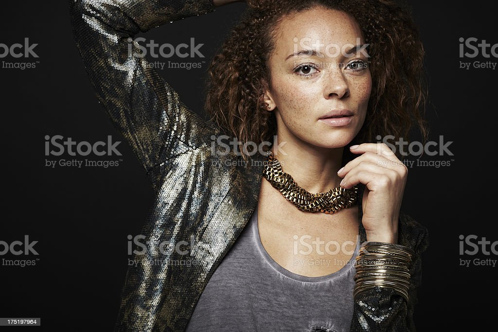 Portrait of glamorous young woman in studio royalty-free stock photo