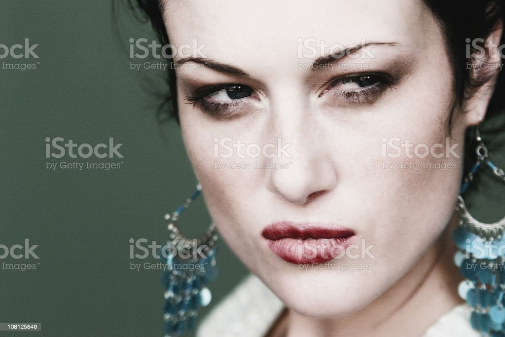 Portrait of Glaring Woman royalty-free stock photo