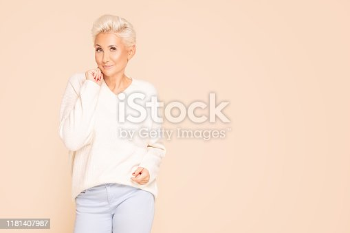 istock Portrait of gorgeous adult woman. 1181407987