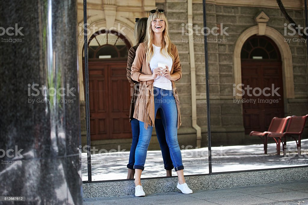 Portrait of gorgeous girl in the city stock photo