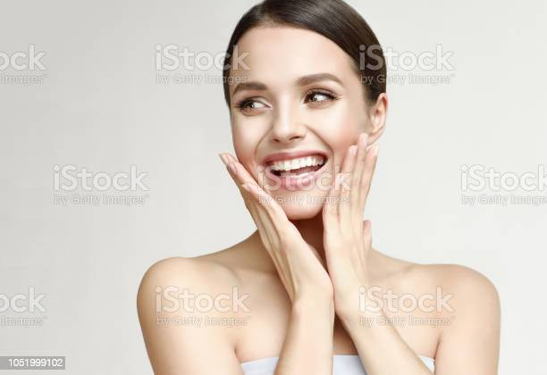 Photo of Portrait of gorgeous, young laughing woman. Joy and happiness.