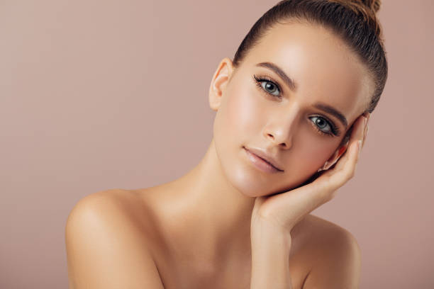 Portrait of gorgeous young woman stock photo