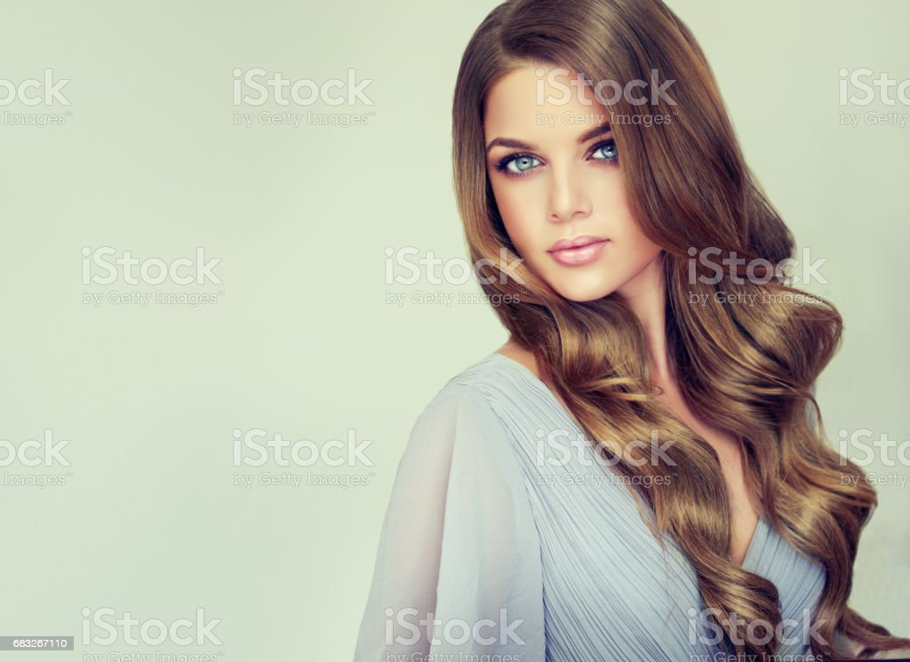 Portrait of gorgeous young woman with elegant make up and perfect hairstyle. royalty-free 스톡 사진