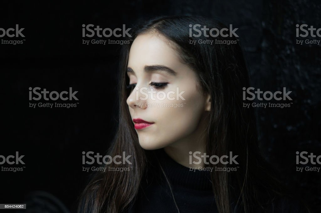 Portrait of gothic pretty girl stock photo