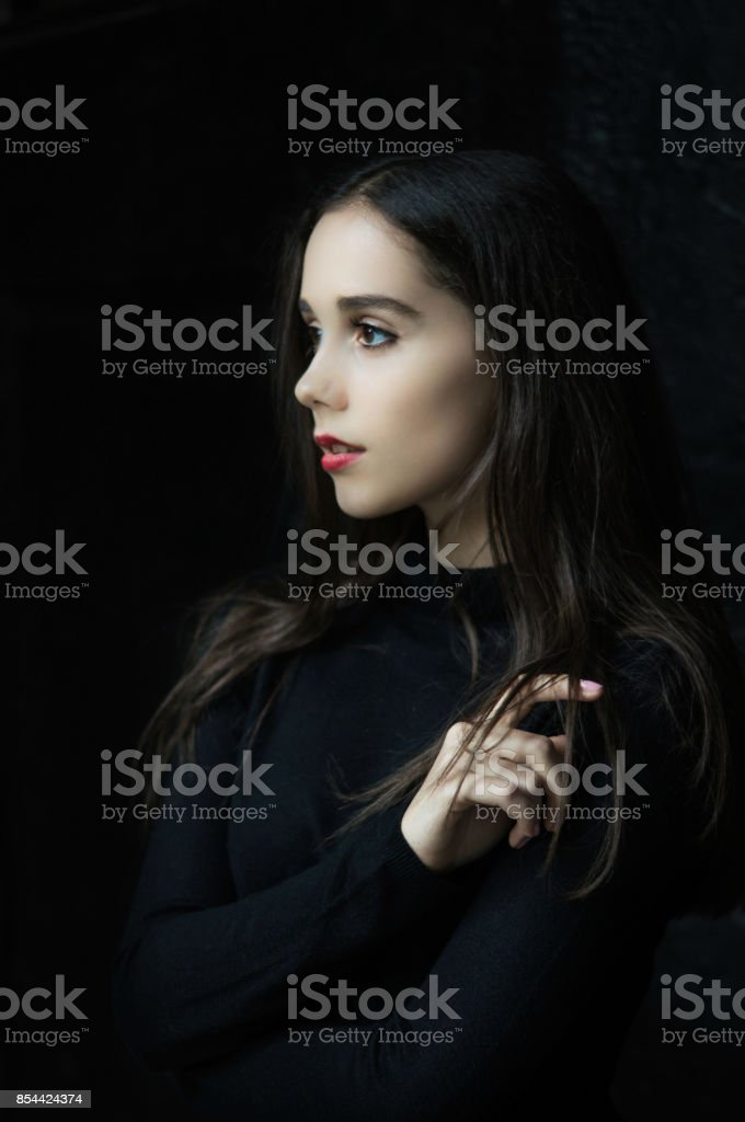Portrait of gothic pretty girl stock photo