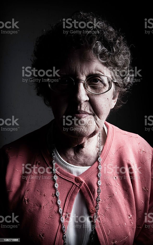 Portrait of Grandmother, Low Key stock photo