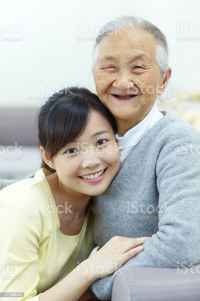 portrait of grandmother with her granddaughter royalty-free stock photo