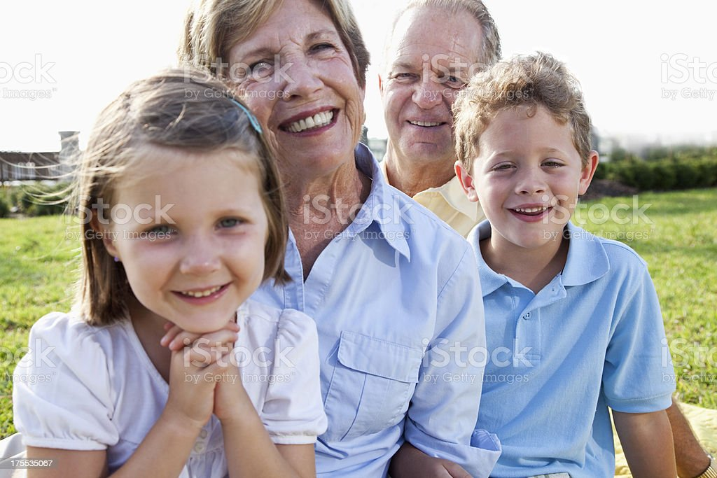 Portrait of grandparents and grandchildren royalty-free stock photo