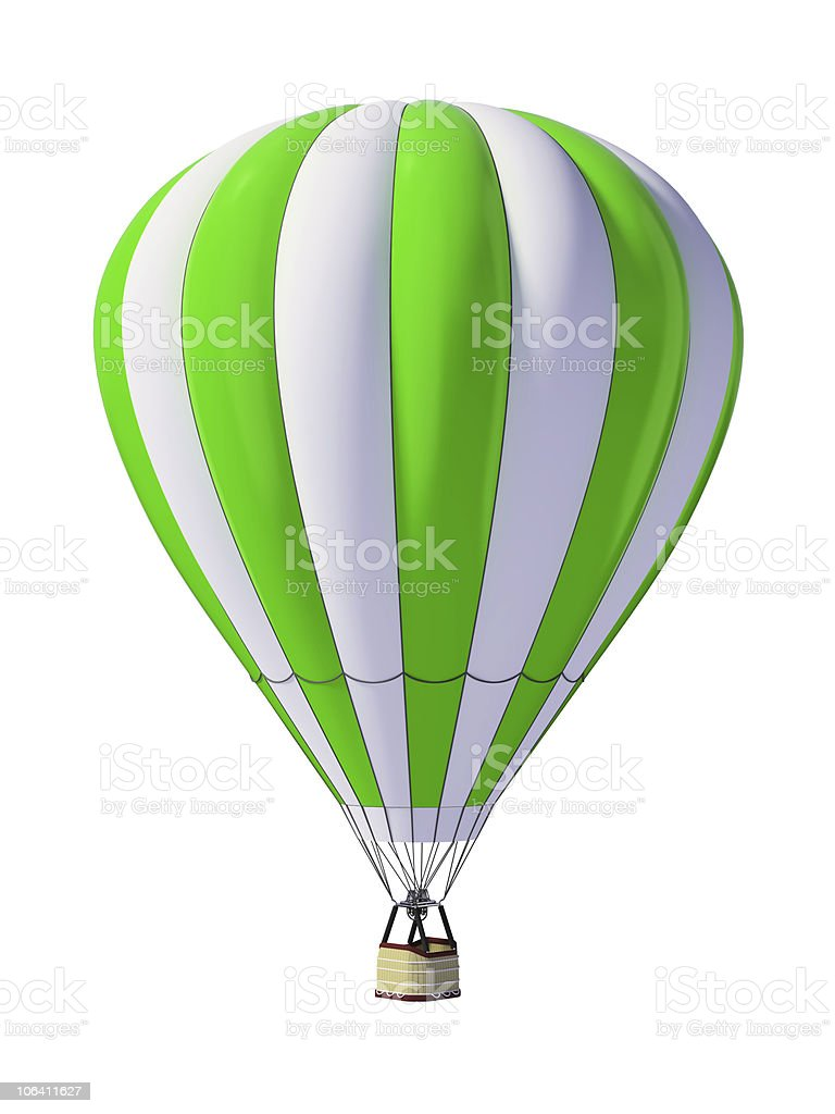 Portrait of green and white hot air balloon on white back royalty-free stock photo