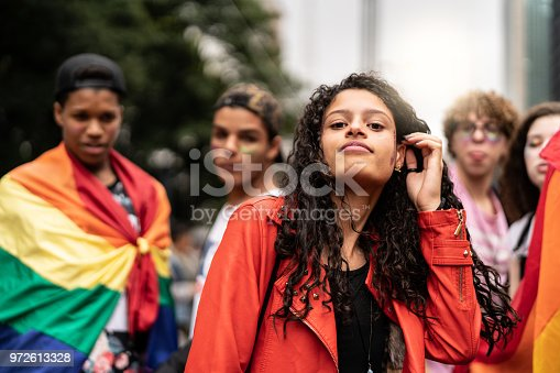 istock Portrait of Group of Gay Friends at Gay Parade 972613328