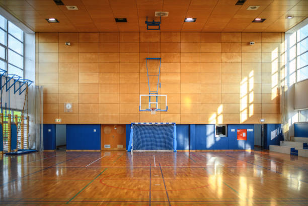 Portrait of Gym and Parquet Basketball Court stock photo