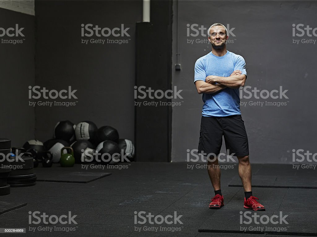 Portrait of gymer smiling at camera stock photo