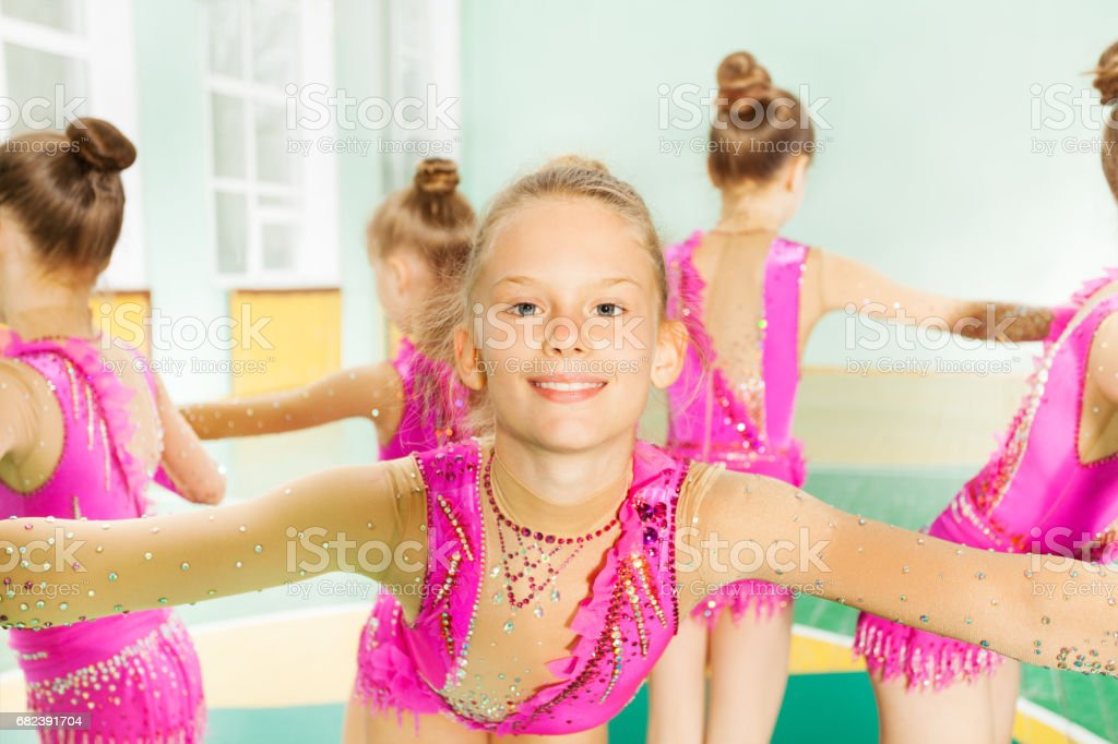 Portrait of gymnast girl performing exercise royalty-free stock photo