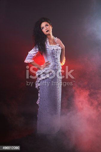 istock portrait of halloween vampire woman aristocrat with stage makeup 496512090