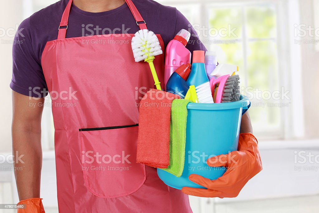 Portrait of hand with cleaning equipment stock photo
