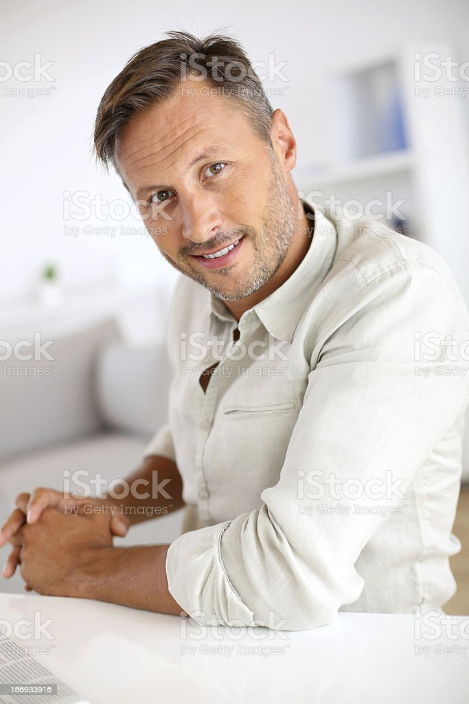 Portrait of handsome 40-year-old man royalty-free stock photo