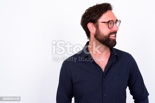istock Portrait Of Handsome Bearded Man With Blue Eyes Against White Background 899699408