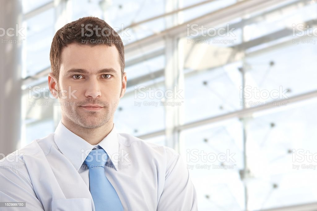 Portrait of handsome businessman smiling royalty-free stock photo
