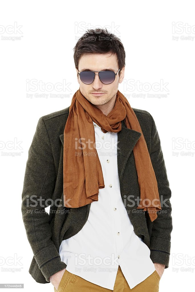 Portrait of handsome male model on white royalty-free stock photo