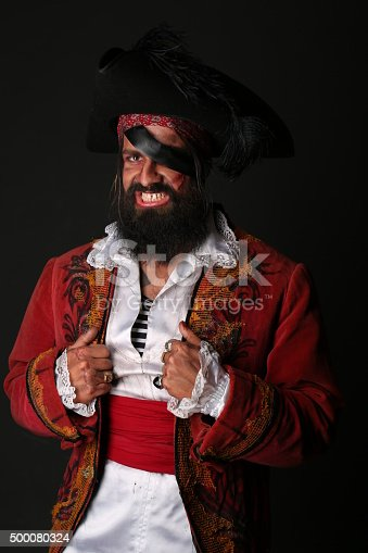 istock Portrait of handsome man in a pirate costume 500080324