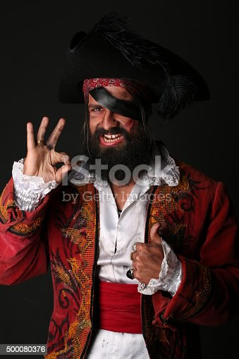 istock Portrait of handsome man in a pirate costume 500080376