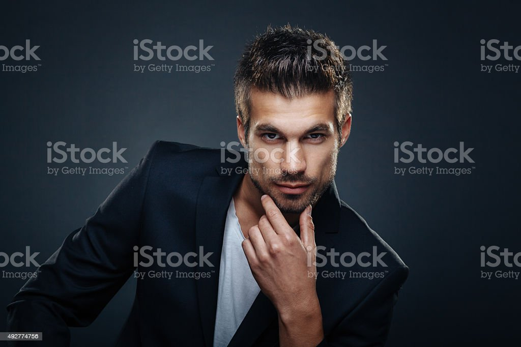 Portrait of handsome man stock photo
