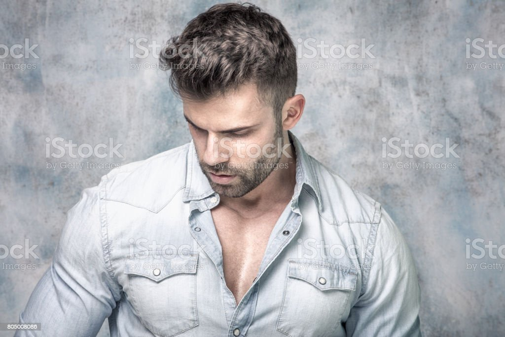 Portrait of handsome man. stock photo