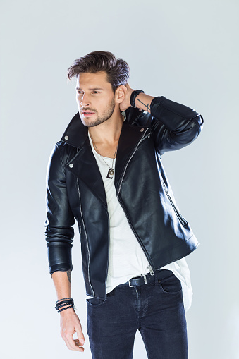 Portrait Of Handsome Man Wearing Leather Jacket Stock Photo - Download Image Now