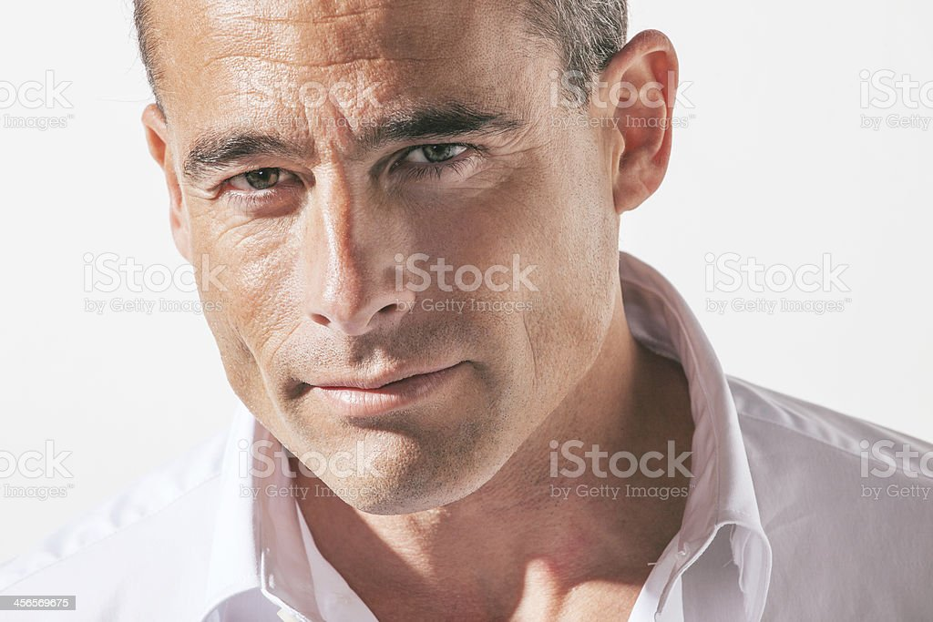 Portrait of handsome mature man. stock photo