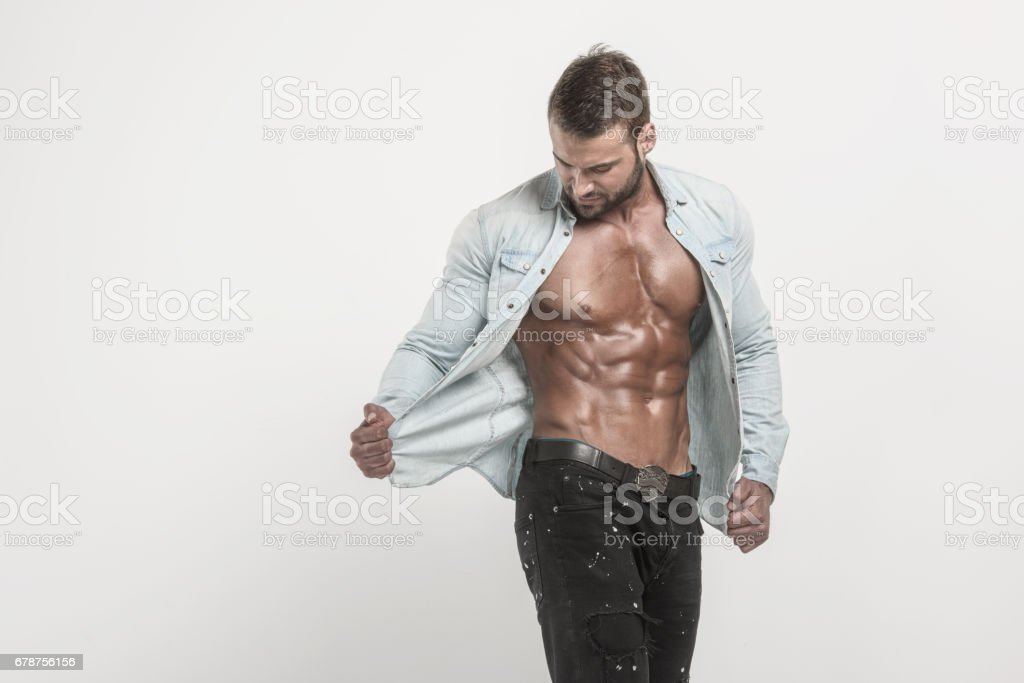 Portrait of handsome Muscular Men in Jeans – zdjęcie