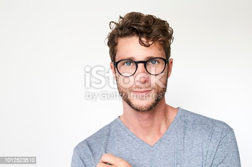 Portrait of handsome guy in glasses