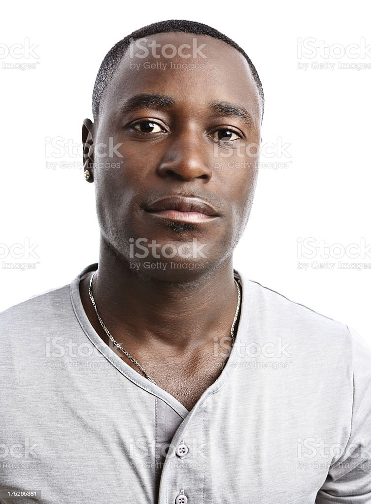 Portrait of handsome, serious young African-American man stock photo