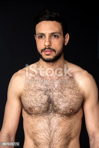 Portrait Of Handsome Shirtless Hairy Man Stock Photo -5676