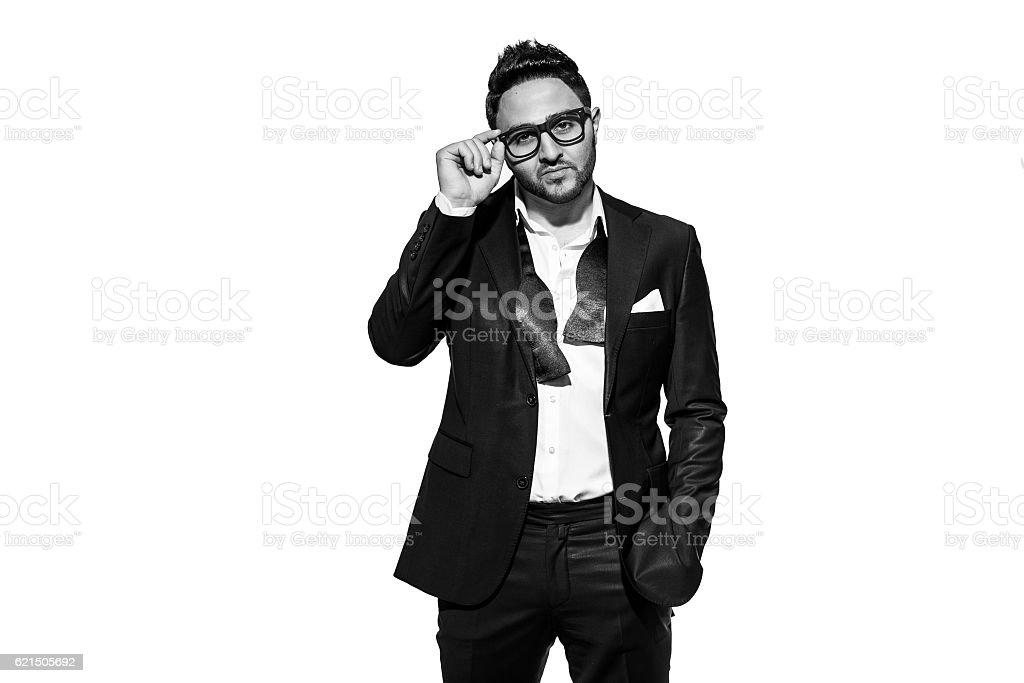 Porträt eines schönen stilvollen Mann im eleganten Anzug Lizenzfreies stock-foto