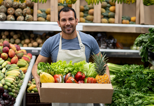 Portrait of handsome worker at a farmer's market holding products in cardboard box while facing camera smiling very happy