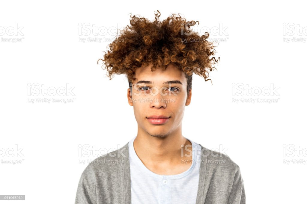 Portrait of handsome young afro american man stock photo