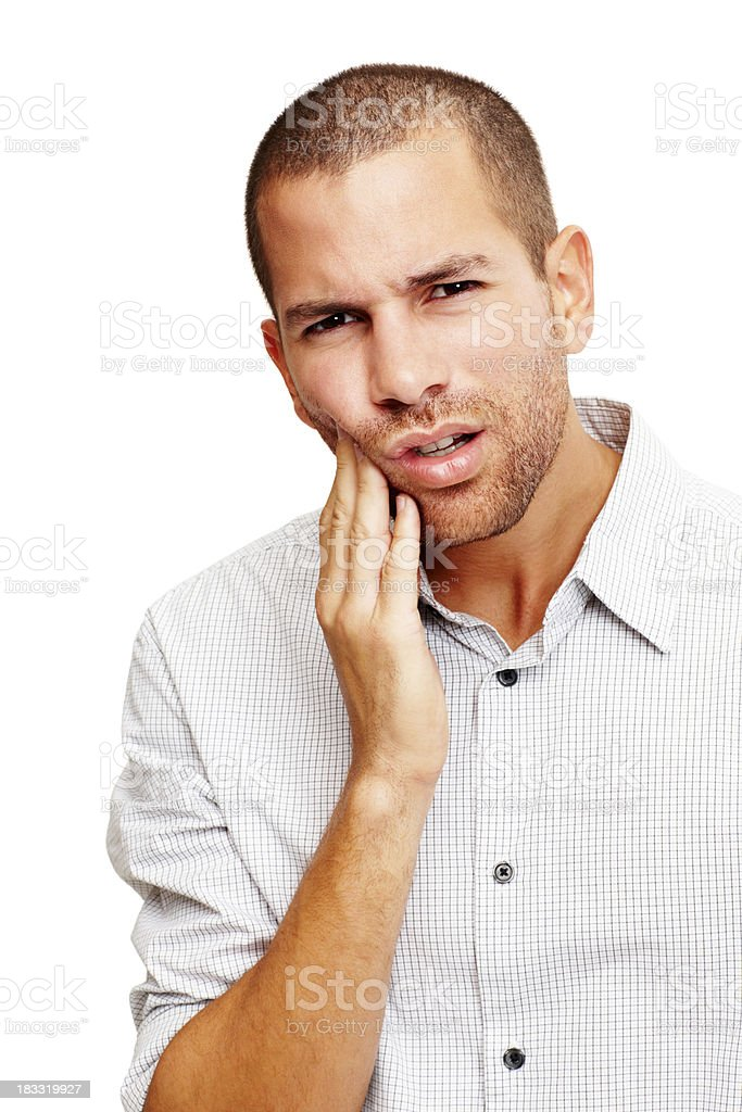 Portrait of handsome young man with a toothache royalty-free stock photo