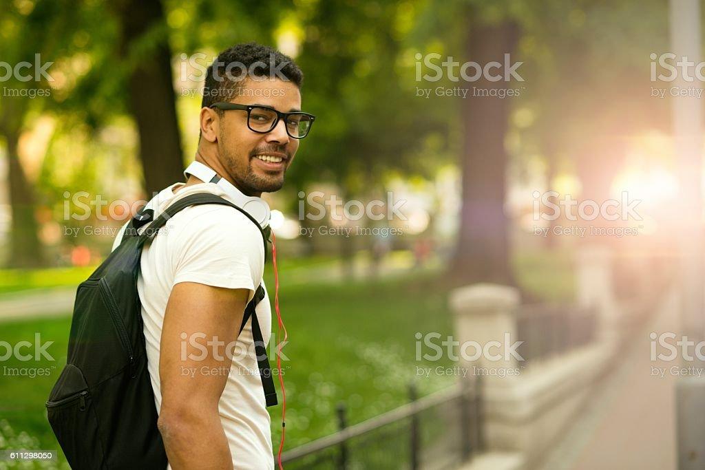Portrait of happy African-american man. stock photo