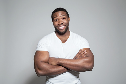 Portrait Of Happy Afro American Young Man Stock Photo - Download Image Now