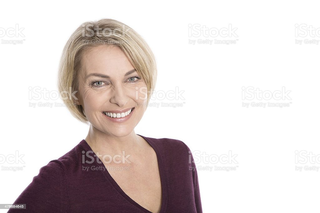 Portrait of happy aged woman over white background royalty-free stock photo