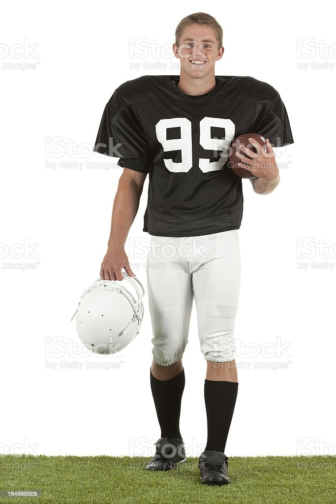 Portrait of happy american football player royalty-free stock photo