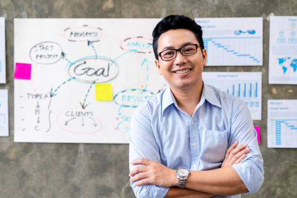 Portrait of Happy asian man in blue shirt standing in smart office workplace with document plan and goal on wall background. Headshot of smiling ceo or manager leaning table with feeling confident stock photo