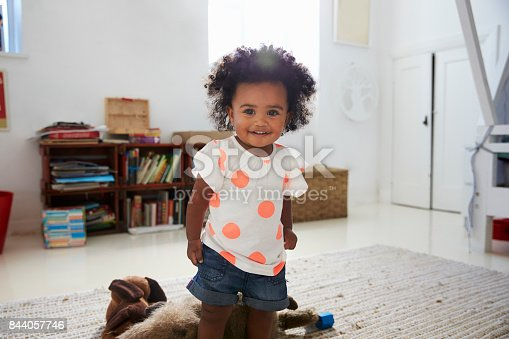 istock Portrait Of Happy Baby Girl Playing With Toys In Playroom 844057746