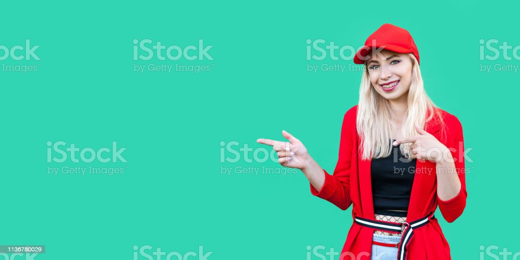 ee3c0e81 Adult, Adults Only, Alertness, Awe, Blank. Portrait of happy beautiful  blond young hipster woman in red blouse ...